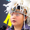 Rakwirahes Pembleton recites the Mohawk Thanksgiving Address on Tuesday during a visit by the St. Regis Mohawks at Stafford Middle School in Plattsburgh. Representatives of the tribe gave full support to the school's Voyager Team, which has proposed changing the holiday name of Columbus Day to Indigenous People's Day.  (ROB FOUNTAIN/STAFF PHOTO)