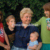Holding Christopher, her newly born grandson, Becky Bosley visits with her grandchildren Sophia, Phoebe and Isaac.<br /> ALVIN REINER/P-R PHOTO 7-4-2016