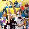 AuSable Valley's Kobe Parrow (14) tips a shot by Northeastern Clinton's Rylee Hollister in the closing seconds of Thursday's Champlain Valley Athletic Conference contest. Parrow scored 22 points in the Patriots' win. (GABE DICKENS/P-R PHOTO)
