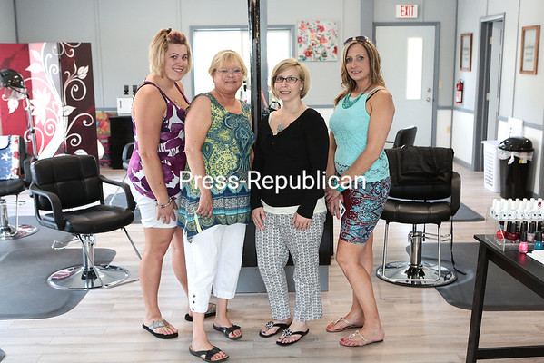 GABE DICKENS/P-R PHOTO  6-21-2016 Salon 22 staff features stylist Amanda Yelle-Joyal (from left), co-owner Pamela St. Jacques, stylist Lauren Putnam, co-owner Amanda Barlow and stylist Brooke Carter (not pictured). The full-service salon, which opened May 3 at 6132 State Route 22 in Plattsburgh, features waxing, manicures and pedicures, coloring, highlights and more. Walk-ins, appointments and gift certificates are available. Nails are done throughout the week, but an appointment is required for Sundays.