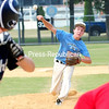ROB FOUNTAIN/STAFF PHOTO  6-27-2016<br /> Clinton County Junior Mariners' pitcher Logan Matthews hurls a fastball against an Ottawa Knights hitter Sunday during the championship game in the Alex Turner Memorial Tournament at Lefty Wilson Field in Plattsburgh.