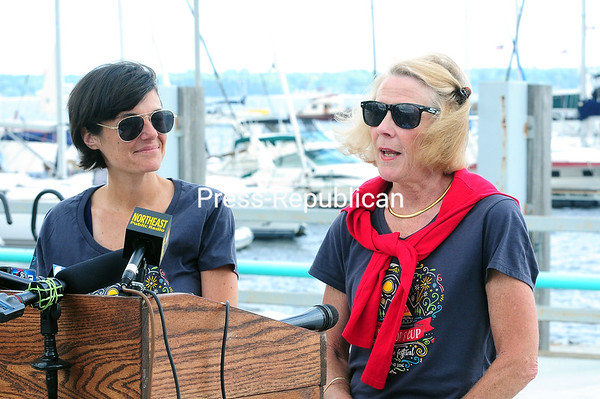 ROB FOUNTAIN/STAFF PHOTO 6-30-2016<br /> During a news conference Wednesday at the Plattsburgh City Marina, City of Plattsburgh Events and Promotional Coordinator Sandra Geddes (left) and Rotary Club member Joanne Dahlen discuss some of the events planned for the approaching Mayor's Cup Regatta and Festival weekend.
