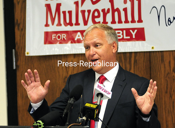 ROB FOUNTAIN/STAFF PHOTO 6-30-2016<br /> Republican Assembly candidate Kevin Mulverhill launches his bid for the 115th District seat in full force Wednesday in Plattsburgh. He faces off with Democrat D. Billy Jones to fill the shoes of incumbent Janet Duprey, who will retire at year's end.