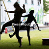 "GABE DICKENS/P-R PHOTO  6-17-2016<br /> Peter Pan, played by Deryn Makowski, dances with his shadow, played by Olivia Kenney, during Guibord's North Country School of Ballet's rendition of ""Peter Pan"" in Trinity Park in Plattsburgh. The recent performance was supposed to take place at the Macdonough Monument, but the cool weather and threat of rain forced it under a tent."