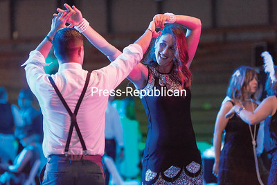 GABE DICKENS/P-R PHOTO  6-18-2016 Eric Ashline and Alexandra Barie dance together during the recent Champlain Valley Physicians Hospital Foundation Gala, featuring a Roaring 20s theme, at the Crete Memorial Civic Center in Plattsburgh.