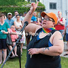 GABE DICKENS/P-R PHOTO   6-18-2016<br /> Khriss Daly of Plattsburgh speaks passionately about the struggles faced by the lesbian, gay, bisexual and transgendered community, including how she was disowned by her family when she came out. But be proud of who you are, she told the large crowd that gathered at Trinity Park Friday evening for a candlelight vigil to mourn those lost in the Pulse nightclub massacre. The gathering, organized by Carly Lemieux, Erin McGill and Shannon Lapham, featured song, prayer and a number of guest speakers.