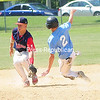 ROB FOUNTAIN/STAFF PHOTO  6-20-2016<br /> Mariners' runner Keller Kowalowski (2) steals second base under Schenectady Indian's short stop Marty McCollum (12) Sunday during the Mehan-Turner Memorial Tournament at Left Wilson Field in Plattsburgh.