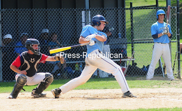 ROB FOUNTAIN/STAFF PHOTO   6-20-2016 Mariners's Stephan Peryea (4) watches the ball sail to the fence that ended up being a triple against the Schenectady Indians Sunday during the Mehan-Turner Memorial Tournament at Lefty Wilson Field in Plattsburgh.