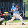 ROB FOUNTAIN/STAFF PHOTO   6-20-2016<br /> Mariners's Stephan Peryea (4) watches the ball sail to the fence that ended up being a triple against the Schenectady Indians Sunday during the Mehan-Turner Memorial Tournament at Lefty Wilson Field in Plattsburgh.