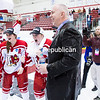 GABE DICKENS/PR-PHOTO 3-20-2016<br /> Plattsburgh State's Womens Hockey Coach Kevin Houle is soaked after winning their thrid straight National Championship.