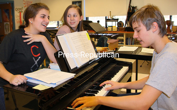 (Alvin Reiner) 3-16-16<br /> With Max Longware at the keyboard, Olivia Politi (left) and Aliceson Drollettte practice for their next performance. They were among the Willsboro Central School students who performed at Carnegie Hall.