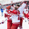 GABE DICKENS/PR-PHOTO   3-20-2016<br /> Kayla Meneghin (9) celebrates with Plattsburgh state teammates after winning the NCAA Division III Women's hockey championship.