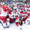 GABE DICKENS/PR-PHOTO 3-20-2016<br /> Plattsburgh State's Womens Hockey team celebrates their third-straight NCAA Division III national championship following their 501 win over the university of Wisconsin-River Falls Saturday evening in the Ronald B. Stafford Area. .