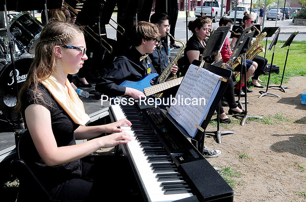 The Saranac High School Jazz Ensemble performs in Trinity Park Sunday FOR Destination Downtown. ROB FOUNTAIN/STAFF PHOTO   5-23-2016