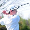 ROB FOUNTAIN/STAFF PHOTO  5-12-2016<br /> AuSable Valley's Nate Devins tees off against  Northeastern Clinton Wednesday during a CVAC golf match in Rouses Point. Devins carded a 38.
