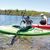 GABE DICKENS/P-R PHOTO  5-17-2016<br /> At Point au Roche State Park in Beekmantown, Plattsburgh residents Mark Garrand (front) and Marco Cabillan get ready to push off in their brand new whitewater kayaks. The two were very pleased with the vessels as they paddled Deep Bay on Lake Champlain and looked forward to trying their kayaks in whitewater conditions on the AuSable River.