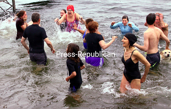 ALVIN REINER/P-R PHOTO  5-5-2016<br /> Although the temperature differential between the air (low 40s) and water (high 30s) was slight, Lake Champlain still had a chilling effect on the 35 or so people who participated in the recent Spring Fling Plunge in Essex in support of Planned Parenthood of the North Country New York. Fund Development Officer Jane Spencer said more than $5,800 was raised, with donations still coming in, for health services, prevention and education programs and sexual-assault services.