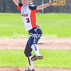 ROB FOUNTAIN/STAFF PHOTO 5-4-2016<br /> Clinton Community College pitcher Tori Trim winds up to let one go against Fulton-Montgomery Tuesday during a doublheader in Plattsburgh.