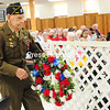 ROB FOUNTAIN/STAFF PHOTO  5-31-2016<br /> World War II veteran Charles W. Smith lays a wreath in memory of fallen soldiers Monday during the Memorial Day Remembrance service at the American Legion Post 20 in Plattsburgh. The guest speaker of the event was veteran Daniel Kaifetz, who founded the local chapter of Honor Flight.