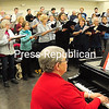 """ROB FOUNTAIN/STAFF PHOTOS 12-1-2016<br /> Timothy Morningstar directs the Champlain Valley Voices with accompaniment from Leslie Scholtz in preparation for the group's """"The Magic of Christmas"""" performance set for 7:30 p.m. Saturday at Plattsburgh United Methodist Church."""