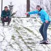 ROB FOUNTAIN/STAFF PHOTO 11-23-2016<br /> With a fair amount of snow on the ground, Carter McPherson tries to stand up on a sled as it heads down Fox Hill in Plattsburgh, as McPherson's friend Cody Coss cheers him on. The two were enjoying the start to their Thanksgiving vacation.