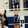 ROB FOUNTAIN/STAFF PHOTO 11-5-2016<br /> Plattsburgh High's Sydney Burdo (16) looks to blast a shot by Peru's Alexis Velie (7) Wednesday during a Section VII Class B volleyball semifinal in Peru.