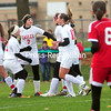 ROB FOUNTAIN/STAFF PHOTO 10-24-2016<br /> Beekmantown celebrates one of its second-half goals during a Section VII Class B girls' soccer semifinal Monday in Chazy.