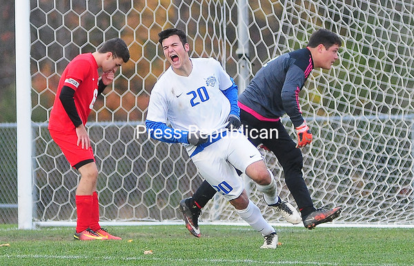 ROB FOUNTAIN/STAFF PHOTOS 10-25-2016<br /> Peru's Justin LaPorte (20) celebrates his game-winning goal late in the second half against Beekmantown Tuesday during a Section VII Class B semifinal in Chazy.