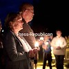 GABE DICKENS/P-R PHOTO 10-8-2016<br /> At a candlelight vigil for the Addict's Mom Lights of Hope event within the Circle of Healing and Hope at University of Vermont Health Network, Champlain Valley Physicians Hospital in Plattsburgh, Marsha VanLeeuwen, joined by her husband, Don, talks about losing their son to drug addiction.