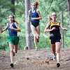 GABE DICKENS/P-R PHOTO 9-10-2016<br /> Lake Placid's Marli Damp (right) and sisters Sofia and Lea DeJordy of Seton Catholic compete in a cross country meet Thursday hosted by Peru Central School at Macomb State Park in Schuyler Falls. The results from the cross country meets will be published in Saturday's paper.