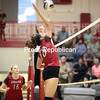 Beekmantown's Brooke Bjelko prepares to spike the ball during a Champlain Valley Athletic Conference volleyball match Thursday against Plattsburgh at Beekmantown Central School.<br /> (GABE DICKENS/ P-R PHOTO)