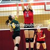 ROB FOUNTAIN/STAFF PHOTO 9-28-2016<br /> Beekmantown's Brooke Bjelko (18) blocks a shot from Northern Adirondack's Mara Ryan (6) Tuesday during Champlain Valley Athletic Conference volleyball in Beekmantown.