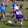 ALVIN REINER/P-R PHOTO 9-24-2016<br /> Third- and fourth-graders from Moriah and Ticonderoga engage in a recent spirited game at Camp Dudley in Westport, part of a Biddy Soccer tournament there. Hundreds of elementary-school youngsters from throughout Essex County participate Saturdays in the tourneys, sponsored by school and town youth commissions. At times, there may be seven or eight games going on at once. The next tournament is scheduled for Lake Placid on Oct. 1, followed by a Schroon Lake tournament on Oct. 15.