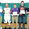 GABE DICKENS/ P-R PHOTOS<br /> From left to right, Moriah's Dylan Trombley, AuSable Valley's Kobe Parrow, Ticonderoga's Evan Graney, Moriah's Joey Stahl and Plattsburgh High's Andrew Cutaiar pose with their Champlain Valley Athletic Conference boys basketball All-Star certificates.