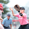 GABE DICKENS/ P-R PHOTO<br /> Plattsburgh State's Hope VanBrocklin awaits a throw from the catcher on a sacrifice bunt by Cortland during the second game of Saturday's SUNYAC doubleheader at Cardinal Park.