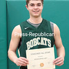 GABE DICKENS/ P-R PHOTOS<br /> Northern Adirondack's Stephen Peryea poses with his Champlain Valley Athletic Conference boys basketball Most Valuable Player certificate.