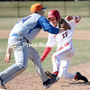 GABE DICKENS/P-R PHOTO<br /> Plattsburgh State's Kentaro Mori attempts to slide back to first base safely, but is thrown out on a shallow fly ball to right field during the second game of a doubleheader against New Paltz Tuesday at Chip Cummings Field.
