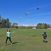 JOANNE KENNEDY/P-R PHOTO<br /> Ten-year-old Danaka Clowney and her 6-year-old brother, Mason, have fun flying kites at the Town of Peru Lapham Mills Recreation Park. Their grandfather Al Douglas was close by watching them on a picture-perfect day.