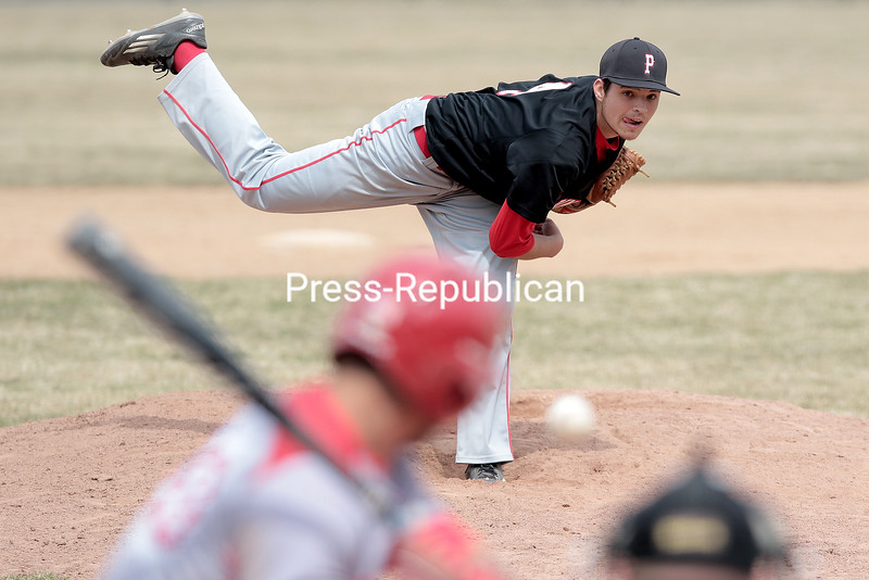 GABE DICKENS/ P-R PHOTO<br /> Plattsburgh State's Justin Adams delivers a pitch against Cortland during Saturday's SUNYAC game at Chip Cummings Field in Plattsburgh.