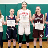 GABE DICKENS/P-R PHOTOS<br /> From left to right, Moriah's Madison Olcott, AuSable Valley's Madison McCabe, Beekmantown's Brooke Bjelko, Northeastern Clinton's Abbie Sample and Peru's Lauren Lawliss pose with their Champlain Valley Athletic Conference All-Star certificates.