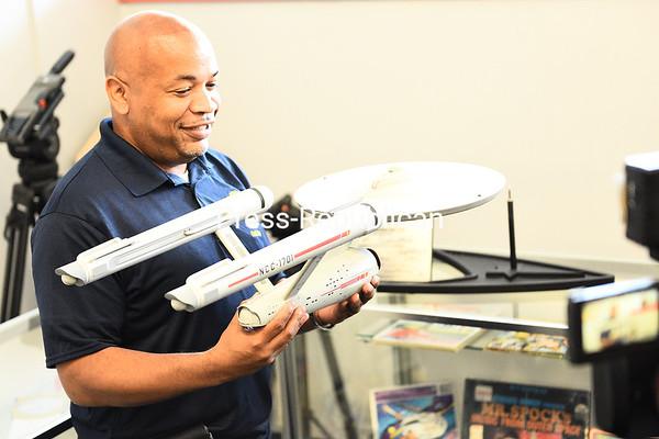 "Holding a Starship Enterprise model, New York State Assembly Speaker Carl Heastie said he felt like a kid when he visited the ""Star Trek"" Original Series Set Museum in Ticonderoga.<br /> KAYLA BREEN/ STAFF PHOTO"