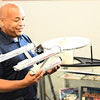 "Holding a Starship Enterprise model, New York State Assembly Speaker Carl Heastie said he felt like a kid when he visited the ""Star Trek"" Original Series Set Museum in Ticonderoga.<br /> KAYLA BREEN/ STAFF PHOTO"