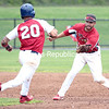 The Redbirds' Josh Martinez lines up a tag on Puerto Rico Islanders' Steven Rodriguez on a stolen base attempt at second base during Thursday's Empire Baseball League game in Plattsburgh.<br /> GABE DICKENS/ P-R PHOTO