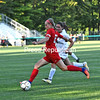 Beekmantown's Alyssa Waters looks to pass from midfield as Hannah Glicksman applies defensive pressure during the Chazy Soccer Tournament Wednesday at George Brendler Field in Chazy.<br /> KAYLA BREEN/ STAFF PHOTO