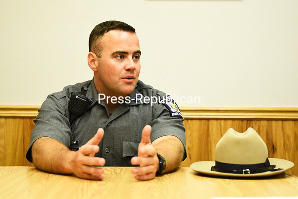 Trooper Ryan Buckley talks about why he wanted to join the State Police and about his experiences at the State Police Academy during an interview at the New York State Police Troop B office.<br /> KAYLA BREEN/STAFF PHOTO