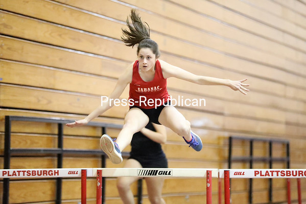 Saranac's Rachael Scarborough competes in the 55-meter hurdles during the Saranac Invitational Saturday at the Plattsburgh State Field House. Results from this event were not submitted to the Press-Republican. KAYLA BREEN/ STAFF PHOTO