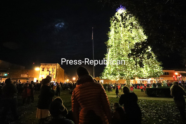 Downtown Plattsburgh erupts in applause as the countdown ends and the Christmas tree is lit up on lawn of The Strand Center for the Arts. KAYLA BREEN/ STAFF PHOTO