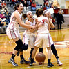 ROB FOUNTAIN/ STAFF PHOTO<br /> Beekmantown's Kenna Guynup, right, (4) celebrates with her teammates after reaching 1,000 points in her varsity career.