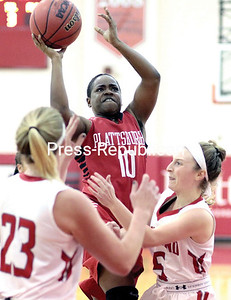 GABE DICKENS/P-R PHOTO 1-16-2017 Plattsburgh State's Moe Jones goes up for a jump shot against Cortland during Saturday's SUNYAC matchup at Memorial Hall.