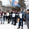 """GABE DICKENS/P-R PHOTO 1-29-2017<br /> More than 100 people turned out for """"The North Country Stands with Standing Rock"""" event in Trinity Park in Plattsburgh on Saturday afternoon, in a showing of solidarity with the Standing Rock Sioux Tribe in their fight to prevent the construction of the Dakota Access Pipeline, which would run under Lake Oahe on the border between North Dakota and South Dakota."""